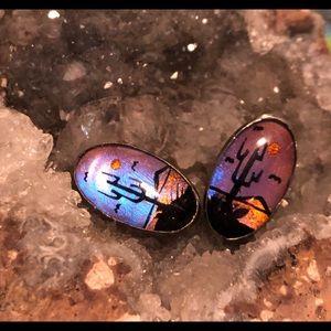 Vintage Butterfly Wing Earrings Sterling Silver